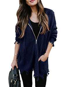 Chang Yun Women's Distressed Sweaters Hooded Ripped Open Front Cardigan Zipper Long Sleeve Chunky Knit Pullover Tops Navy