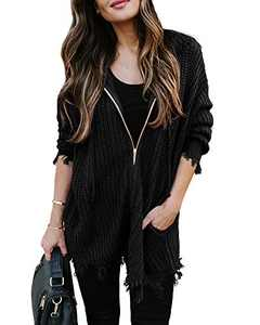 Chang Yun Women's Distressed Sweaters Hooded Ripped Open Front Cardigan Zipper Long Sleeve Chunky Knit Pullover Tops Black