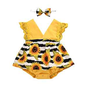 Toddler Baby Girl 2Pcs Romper + Headband Floral Sleeveless Lace Infant Newborn Jumpsuit Sets (12-18 Months, Yellow - Sunflower)