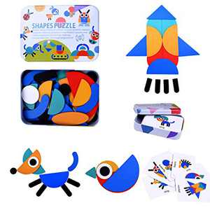 JIAHCN Wooden Pattern Blocks Games for Kids 3-8, Animals Jigsaw Shape Puzzles Sorting and Stacking Geometric Montessori Toddlers Educational Toys with 36 Pcs Blocks 60 Design Cards…