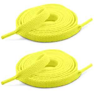 [2 Pairs] Colored Flat Shoelaces Shoe Laces Strings for Sports Shoes Boots Sneakers Skates -Fluorescent Yellow