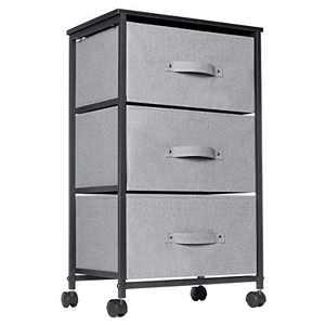 3 Drawer Dresser, KINGSO Fabric Dresser Storage Tower Organizer Unit with Sturdy Steel Frame Easy-Pull Chest of Drawers & Lockable Rolling Wheels for Bedroom Living Room Guest Room Dorm Closet - Grey