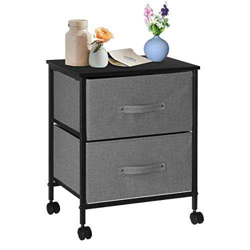 KINGSO Nightstands Side End Tables with 2 Storage Drawers Bedside Table Night Stand for Small Spaces Bedroom Wood Accent Furniture with Lockable Casters Metal Frame