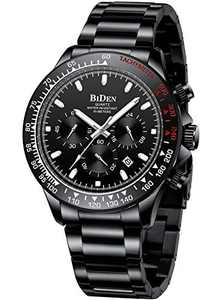 Mens Watches Men Designer Chronograph Waterproof Analogue Quartz Watch Men Stainless Steel Wrist Watch Fashion Large Date Watches for Men Black