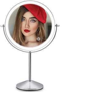 Makeup Vanity Mirror with LED Lights, 8 Inch Rechargeable Double Sided 10X Magnification, 3 Color Lighting, Dimmable Cosmetic Mirror with Touch Control 360°Rotation Light up Mirror Cord or Cordless