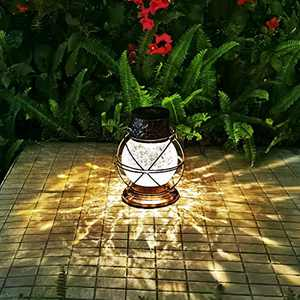 Solar Lantern Outdoor Hanging Lights, Metal & Crackle Glass Multi Color Decorative Garden Lights Waterproof LED for Table, Patio, Yard Decor (Bronze)