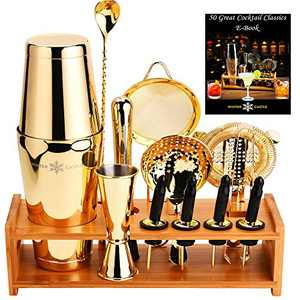 Gold Pro Cocktail Shaker Set by WinterCastle-The 18 piece Ultimate Bartender Kit: Boston Shaker, Jigger, Muddler, Bar Spoon, 3 Strainers, 4 Pourers with Caps, Tongs, Bamboo Stand, FREE Recipe EBook