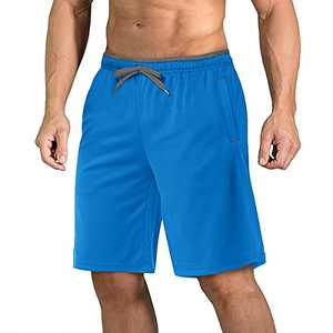 CRYSULLY Men's Mesh Quick Dry Active Wrinkle-Free Drawstring Shorts with Pockets Blue