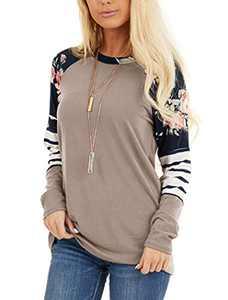 Minclouse Women's Long Sleeves Cute Tunics Floral Print Stripe Tops Casual Color Block Blouse Shirts
