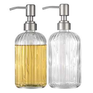 Syellowafter 1/2 Pack Thick Glass Soap Dispenser - 16 Oz Round Bottles Refillable Liquid Hand Soap Dispenser with Rustproof Pump for Bathroom, Kitchen Soap, Dish Soap (2-Pack Clear)
