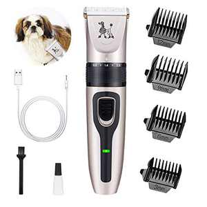 HeiYi Dog Clippers Kit for Grooming - Rechargeable Pet Trimmer Professional Quiet Hair Clippers with Comb Guides for Small Medium Larger Dogs