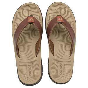 COFACE Men's Sport Sandals Leather Flip Flops for Men with Memory Foam Footbed Outdoor Khaki Size 14
