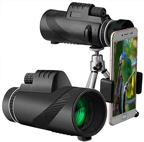 Monocular Telescope, 40x60 High Power Monocular BAK4 Prism FMC Lens Waterproof Scope with Smartphone Holder &Tripod - for Bird-Watching, Travel, Concert, Sports, Outdoor (Black)