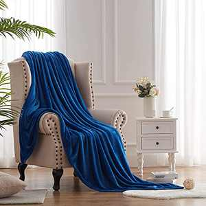 Hboemde Soft Summer Blanket Throw/Travel Size Fleece Warm Fuzzy Throw Blankets Lightweight Microfiber for Couch Bed Sofa All Season(Classic Blue,50x60)