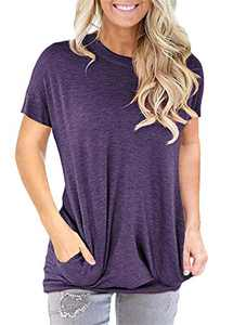 ONLYSHE Women's Casual Round Neck Tops Summer Short Sleeve T-Shirt Top Blouse Purple L