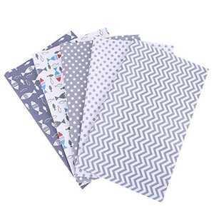 5pcs 100% Cotton Craft Fabric Bundle Patchwork, 50 x 40cm Quilting Sewing Patchwork Beautiful Pattern Cloths for DIY Scrapbooking Artcraft (Gray-Style2)