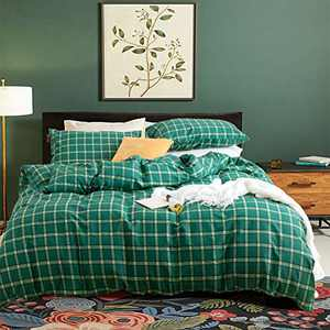Cottonight Green Grid Duvet Cover Set Queen Checkered Cotton Bedding Duvet Cover Full Plaid Buffalo Modern Soft Breathable Bedding Cover Set for Adults Teens Super Soft Comfy