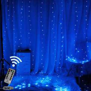 Curtain Light with 8 Modes Control Decoration for Window Home Patio Garden Christmas Indoor Outdoor Decoration, USB Operated, IP64WATERPROOF (9.8ft X 6.5ft)(Blue)