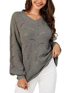 Foshow Womens Hollow Out Batwing Sleeve V Neck Pullover Scalloped Slouchy Knit Sweaters Loose Fit Jumper Tops Gray