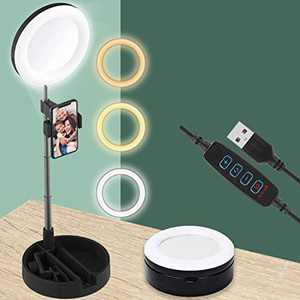"""6.5"""" Desk Ring Light, Video Conference Recording Photography with Stand, Makeup Mirror & Phone Holder, 3 Light Modes with Remote for YouTube/Streaming/Tiktok, Selfie Foldable"""