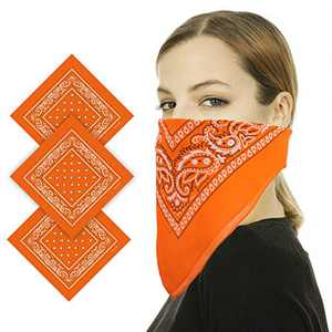 Bandana for Women Men, Winter Neck Gaiter, Washable Face Mask Scarf, Warmer Gift Face Cover, 100% Cotton Handkerchief, Orange (Pack of 3)
