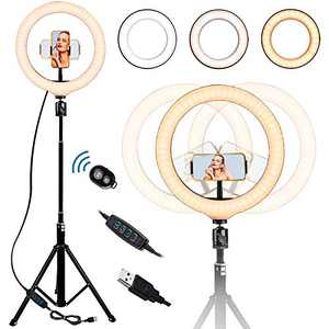 GLISTON 10'' Selfie Ring Light with Tripod Stand, LED Circle Light with Adjustable Cell Phone Holder, Dimmable Ringlight for Live Stream/Makeup/YouTube Video/TikTok, Compatible with iPhone/Android