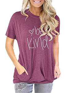 ONLYSHE Women's Be Kind Graphic Tees Summer Casual Letters Print Short Sleeves T-Shirt