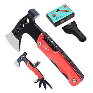 RoverTac Multitool Lockable Camping Axe Survival Gear Unique Gifts for Men Dad Husband Boyfriend 11 in 1 Upgraded Multi Tool with Hammer Knife Saw Screwdrivers Bottle Opener Durable Sheath