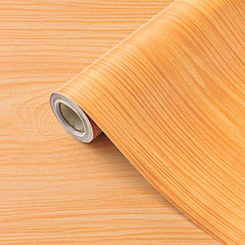 """Coavas 3D Wood Wallpaper Peel and Stick Wallpaper Removable Paper Self-Adhesive 17.7""""x78.7"""" Decorative Wall Furniture Renovation Tables Stools Cabinets,Yellow"""