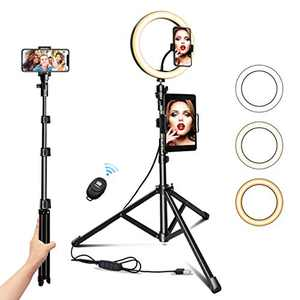 "Ring Light with Tripod Stand 10.2"" Selfie Ring Light with Phone/Pad Holder for Live Sream/Makeup JOGDRC Mini LED Camera Ringlight for YouTube Video/Photography Compatible"