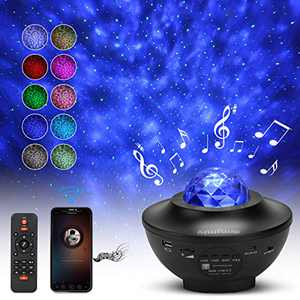 Night Light Projector, Anufuup Star Projector Night Light with Bluetooth Speaker, LED Star Projector with Remote Control & Timer, Ocean Wave Projector for Home Theatre, Party, Kids Room Decorations
