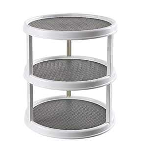 12 inch Diameter Turnable Lazy Susan Spice Rack Organizer for Large Cabinet, Kitchen Dining Table Refrigerator BathroomOrganization (Gray, 3 Tier)