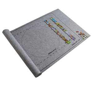 RINKOUa Portable Jigsaw Puzzle Roll Mat,Puzzle Storage Felt Mat, Roll Up Puzzle Mat Travel Puzzle Blanket,Puzzle Accessory Puzzle Table, Play Mat 26x46inch Jigroll Up to 1500 Pieces Puzzles (Gray)