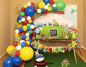 115pc, 3 Sizes – Boy Birthday Balloon Arch Kit & Red Balloon Garland for Toy Story Mario Theme – Primary Color Balloons in Red Blue Yellow Green White – Colorful Rainbow Party Supplies & Decorations