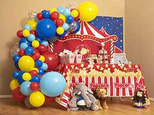 110pc, 3 Sizes – Circus Balloon Arch Kit & Garland for Carnival Party Decorations Theme – Primary Color Balloons in Red Blue Yellow & Rainbow Confetti – Baby Shower Circus Birthday Party Supplies