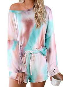 Elapsy Womens Tie Dye Print Casual Short Pajamas Set Soft Jersery Cotton Nightwear Long Sleeve Drawstring Elastic Waist PJ Set Lounge Wear Multi XL