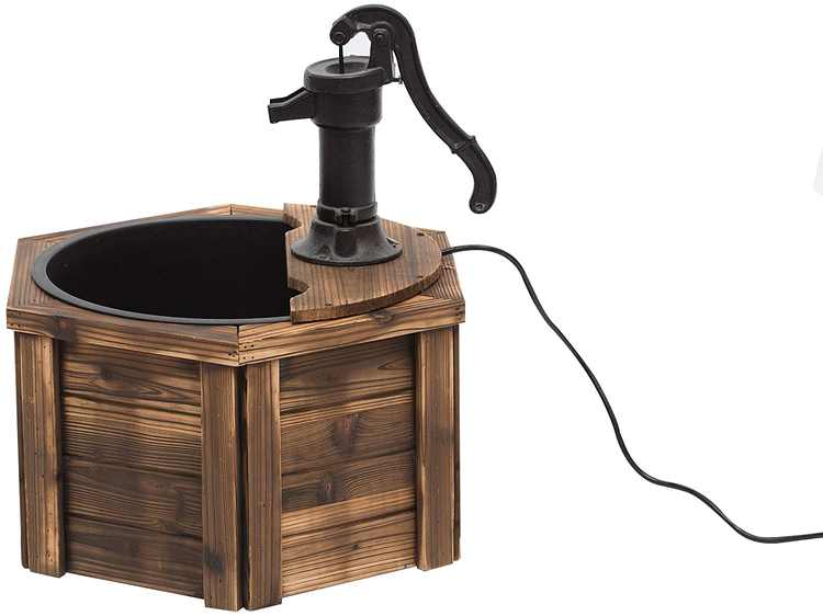 Outsunny 220V Wooden Electric Water Fountain Garden Ornament w/Hand Pump Plastic Well Classic Water Pump Feature Decoration Suitable For Garden Patio Oasis