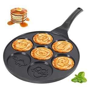 KUTIME Pancake Pan Pancake Griddle with 7 Flapjack Animals Molds Pancake Maker Skillet Non-stick Breakfast Pan for Pancake, Blinis,Omelettes, Fried Eggs