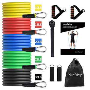 Resistance Bands Set Men - Exercise Bands with Resistance Tubes, Foam Handles, Ankle Straps and Door Anchor for Indoor and Outdoor Sport, Home Gym Fitness, Physical Therapy [up to 100lb, 12pcs]