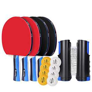 Ping Pong Paddle, Table Tennis Set with 4 Rackets,8 ping Pong Balls and 1 Retractable Table Tennis net ,Great Gift for Indoor or Outdoor Games