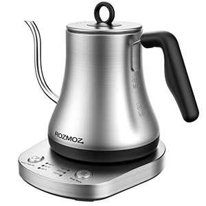 Rozmoz Electric Kettle with Temperature Control, Pour Over Kettle 304 Stainless Steel Tea & Coffee Gooseneck Kettle 0.8L, 1000 Watt Quick Heating