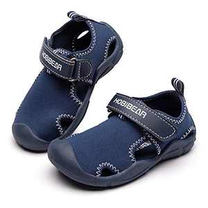 COOJOY Kids Aquatic Water Shoe Quick Dry Boys Girls Closed-Toe Sport Sandal Summer Beach Shoes Dark Blue EU26 10.5 Little Kid