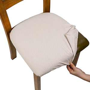 SearchI Stretch Jacquard Spandex Dining Room Chair Seat Covers, Removable Washable Anti-Dust Upholstered Chair Seat Covers for Dining Room, Kitchen, Office (Beige, 6)