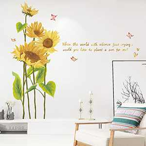 AAPBB Sunflower Wall Stickers Beautiful Hand-Painted DIY Art Stickers for Wall Sunflower Wall Stickers with Artistic Significance Decoration of Living Room Bedroom TV Background Wall