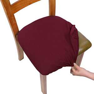SearchI Stretch Jacquard Spandex Dining Room Chair Seat Covers, Removable Washable Anti-Dust Upholstered Chair Seat Covers for Dining Room, Kitchen, Office (Wine red, 4)