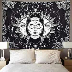 DORCAS Sun Moon Tapestries Psychedelic Mystic Wall Hanging Tapestry Popular Burning Sun with Stars Bedroom Living Room Dorm Decor (Sun & Moon,51x60Inches)