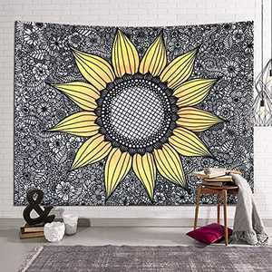 DORCAS Modern Painting tapestry Abstract Line Art Wall Hanging Black White Floral Tapestry Yellow Sunflower Tapestries Dorm Decor for Living Room Curtain Picnic Mat(Sunflower Print,51x60Inches)