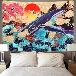 Koi Fish Tapestry Whale Japanese Tapestry Sea Wave Koi Tapestry Trippy Sunset Tapestry Animal Wall Hanging Decor for Bedroom Living Room Dorm by DORCAS(Koi Fish,51x60Inches)