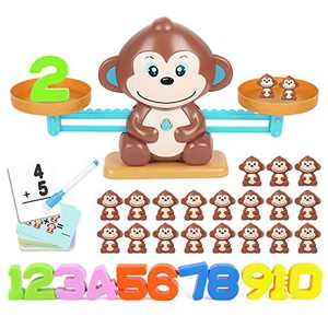 YITOOK Balance Math Game,Monkey Balance Counting Toys for Boys & Girls Educational Number Toy Fun Children's Gift STEM Learning Age 3+ (Brown)