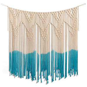 "ARTALL Wall Hanging Macrame Curtain Fringe Banner Bohemian Wall Decor Woven Tapestry Home Decoration for Wedding Apartment Teal 40""x 44"""